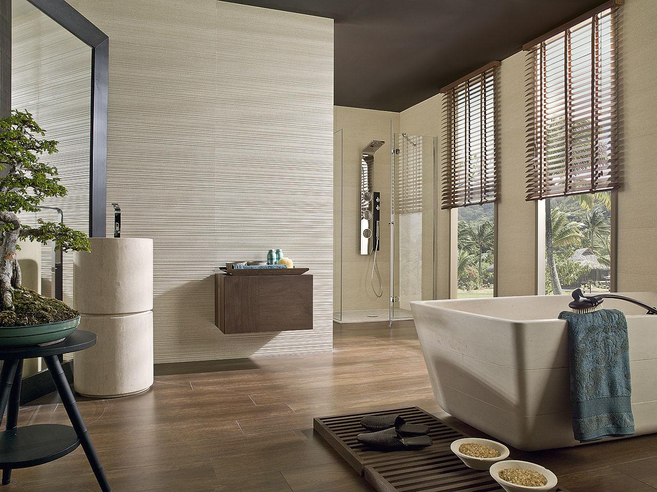 Baño style contemporaneo color marron, beige, marron