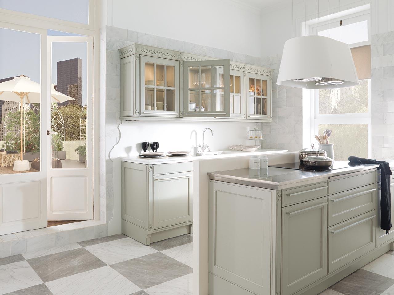cocina style tradicional color beige blanco gris diseado por porcelanosa marca