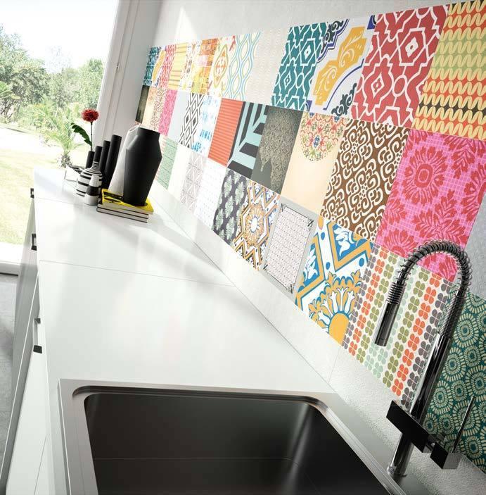 Cocina, loft style moderno color rojo, amarillo, verde, turquesa ...